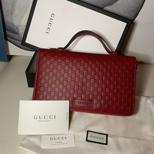 New Gucci Red Leather GG Double Zip Travel Wallet